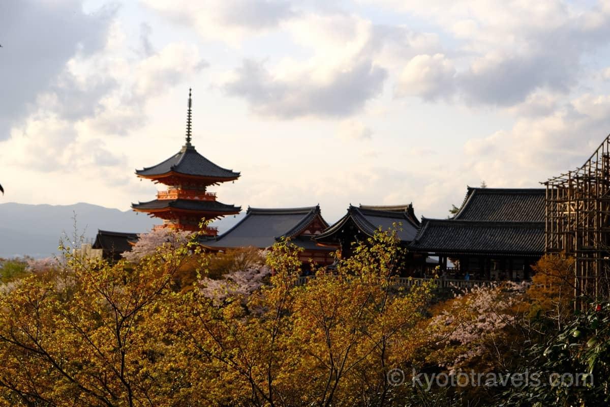 清水寺 朱色の三重塔に夕日が差しています