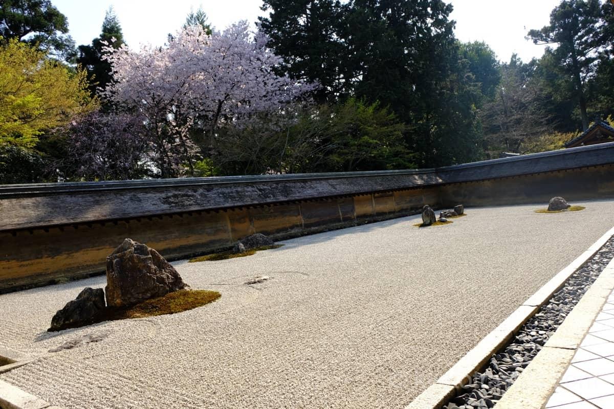 龍安寺の枯山水庭園に日が指しています